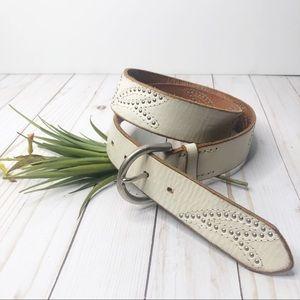 Linea Pelle Studded Leather Belt Beige Large Boho